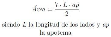 Perimetro y area de un heptagono -