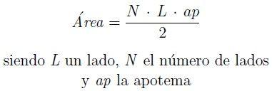 Fórmulas del área del polígono regular