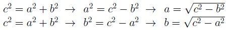 Cálculos de un cateto a partir del otro y la hipotenusa por el teorema de Pitágoras