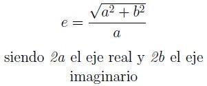 Fórmula de la excentricidad de la hipérbola a partir de los ejes.