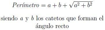 Fórmula del perímetro de un triángulo rectángulo a través del teorema de Pitágoras, poniendo la hipotenusa en función de los catetos.