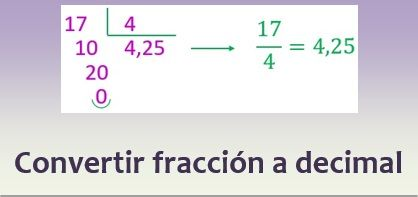 Convertir una fracción a decimal