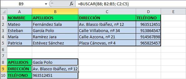 Ejemplo de forma vectorial de la función BUSCAR de Excel