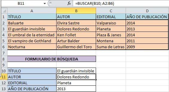Ejemplo de forma matricial de la función BUSCAR de Excel
