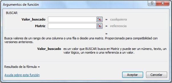 Comandos de la forma vectorial de la función BUSCAR de Excel