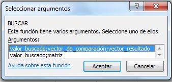 Argumentos de la función BUSCAR. Selección de la forma vectorial o de la forma matricial de la función BUSCAR de Excel