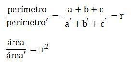 Condición de la proporcionalidad de los perímetros entre triángulos semejantes