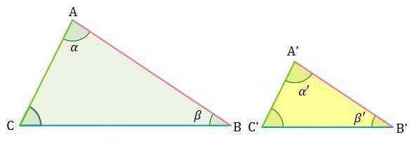 Dibujo del criterio 1 un para triángulos semejantes