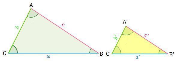 Dibujo del criterio 3 un para triángulos semejantes