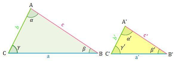Dibujo de dos triángulos semejantes
