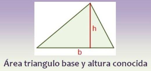 Área de un triángulo con base y altura conocida