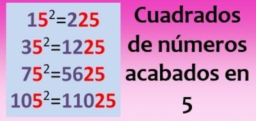 Cuadrados de números acabados en 5