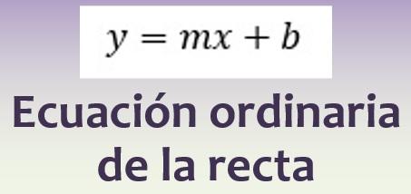 Ecuación ordinaria de la recta